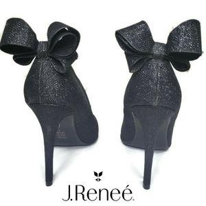 J.Renee black glitter bow point toe heels size 11